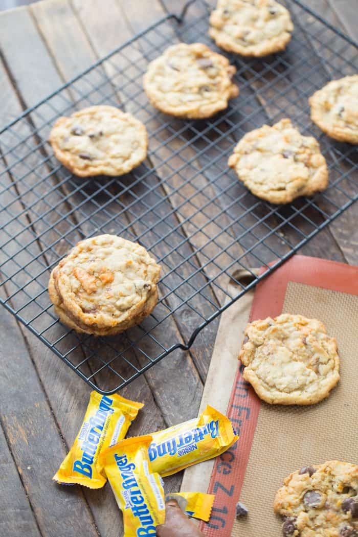Grab your extra candy and try out these Butterfinger cookies!  They are simply the best!