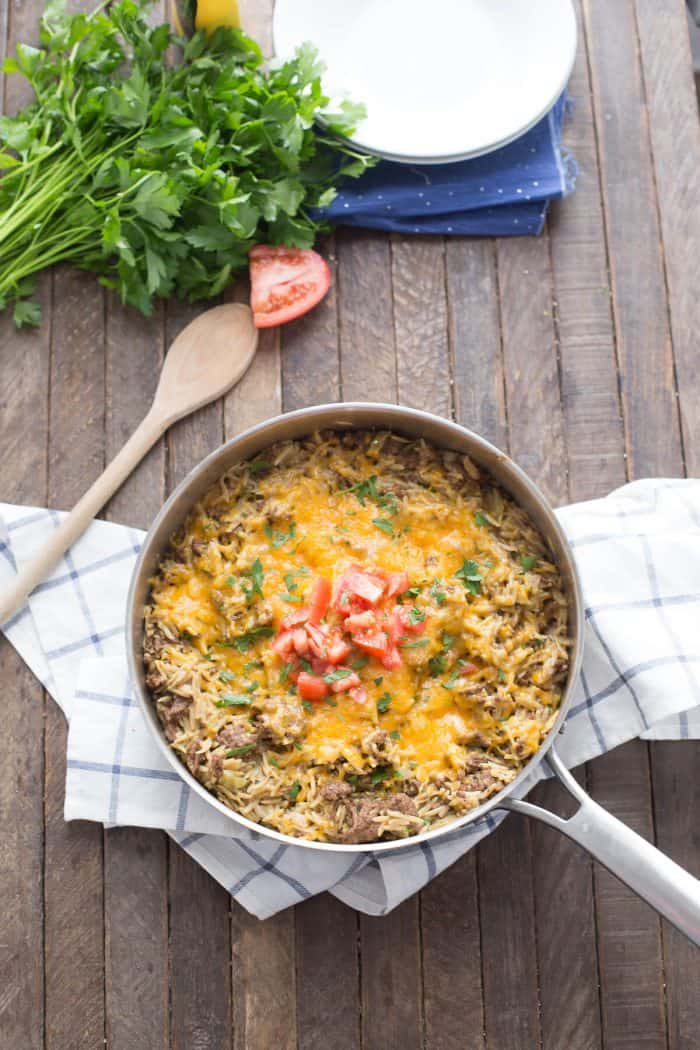 This cheeseburger skillet recipe is sure to get everyone running to the dinner table!