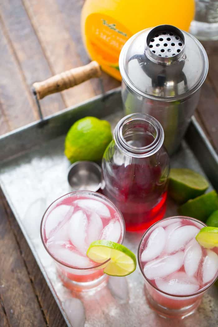Cranberry juice and tangerine lemonade liven up this easy cocktail!