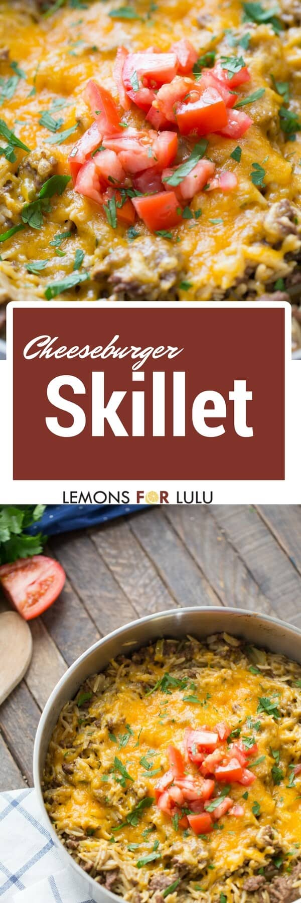 Not sure what to feed the family? Problem solved! This cheeseburger skillet recipe is a family favorite and it only takes about 30 minutes to prepare!