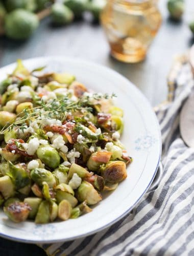 Sauteed Brussels sprouts are stirred together with fig jam. This side dish is a flavor packed treat!