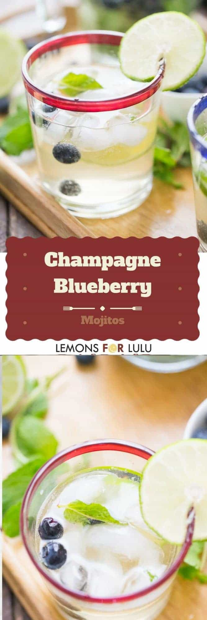 Cool mint and rum makes a mojito delicious, but then adde sweet blueberries and bubbly champagne and you have festive cocktail that everyone will love!