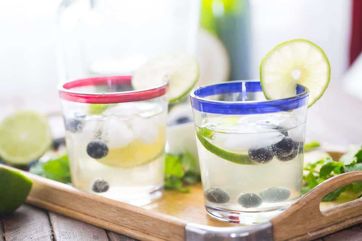 Love mojitos? You have to try this fresh and sweet blueberry mojito! The champagne makes it festive and bubbly!