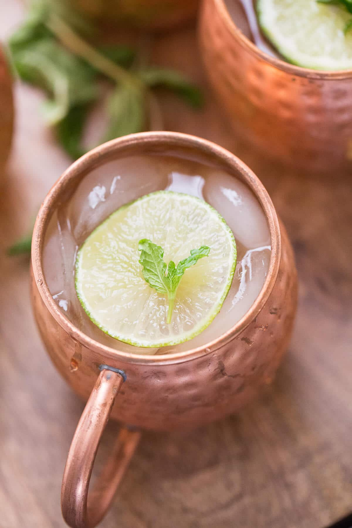 Moscow mule with mint syrup and champagne makes the best champagne cocktail!