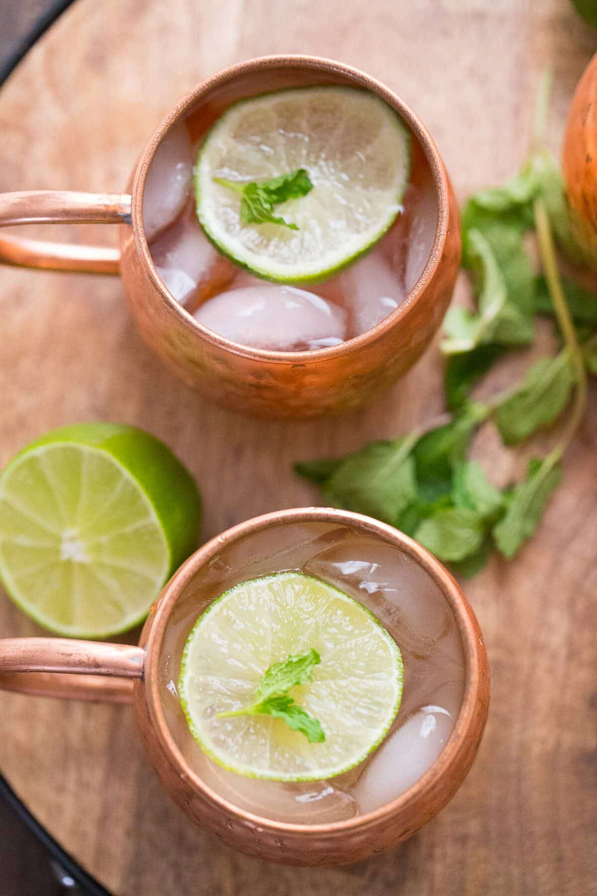 Moscow Mule with mint and a little bubbly champagne is a great twist on a class cocktail!