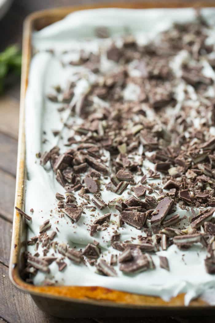 Soft mint flavored chocolate cake is covered in a fluffy mint frosting in this easy mint chocolate cake recipe!