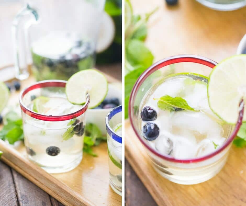 These fresh tasting blueberry mojitos get a little tickle with the addition of bubbly champagne!