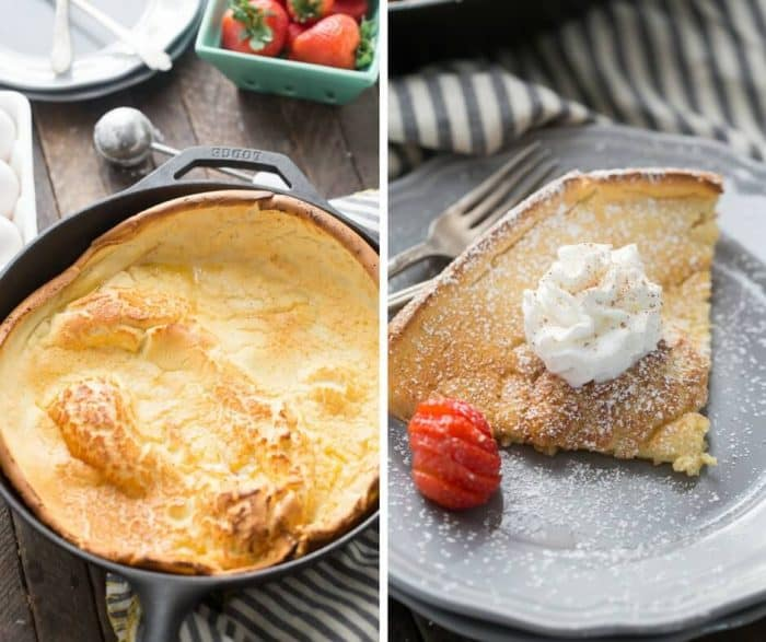 Whether you enjoy drinking eggnog or not, you have to try this eggnog flavored Dutch baby pancake!