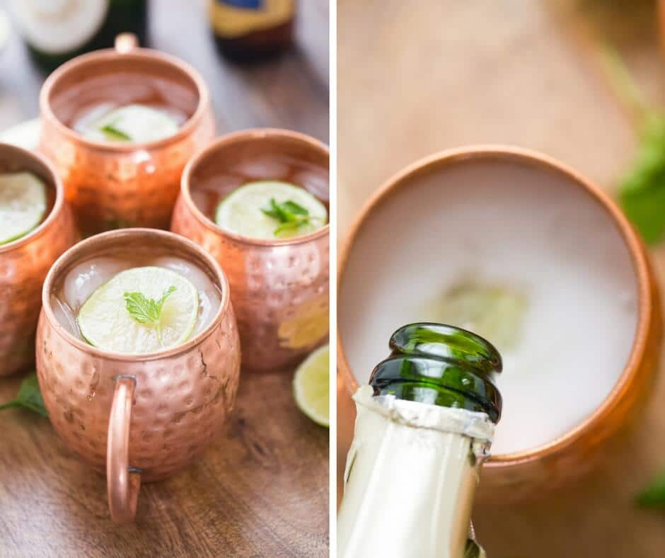 Moscow mule with mint syrup gets topped with a little champagne for some bubbly fun!