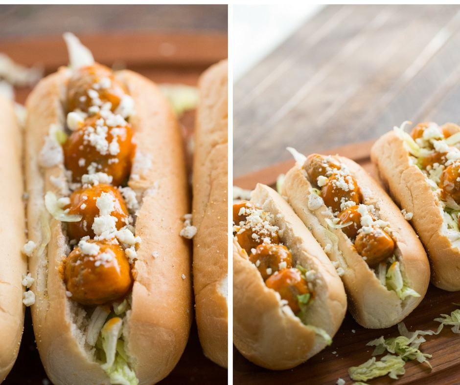 This meatball sub recipe packs a flavorful punch with spicy meatballs and tangy blue cheese!