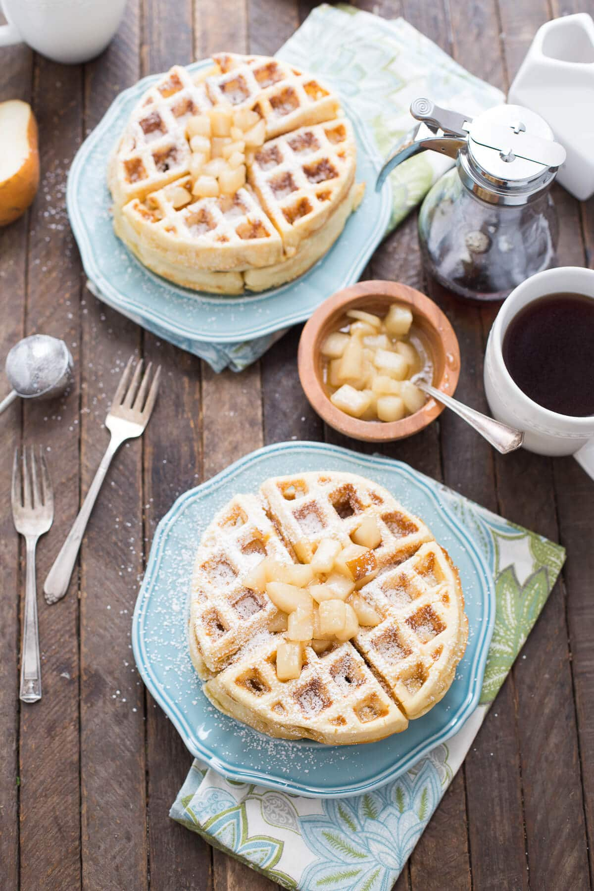 You have serve yourself some homemade waffles!  These are made with browned butter and topped with rum spiced pears!