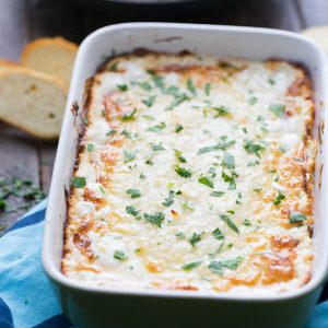 This ultra cheesy dip is like your favorite garlic bread, it's perfect with bread chips!