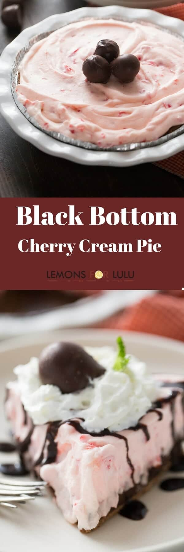 Something amazing happnes when you bite into this cherry cream pie! Each bite is filled with a rich, fluffy and sweet cherry filling as well as a smooth chocolate layer. This is where chocolate covered cherries meet pie!