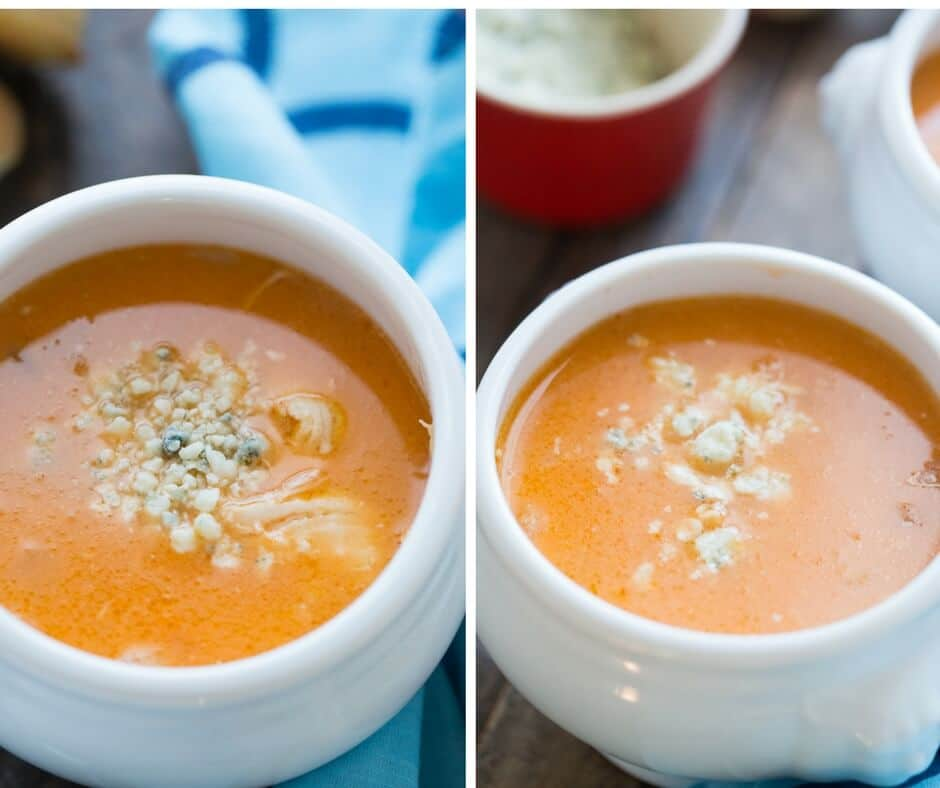 This Buffalo chicken soup is for all your Buffalo sauce lovers! Its is creamy but spicy and tastes so good!
