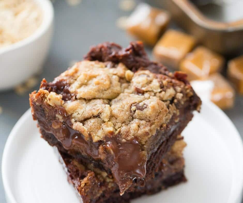 Brookie bars are brownies and chocolate chip cookies, but this dessert also features a rich chocolate caramel layer!