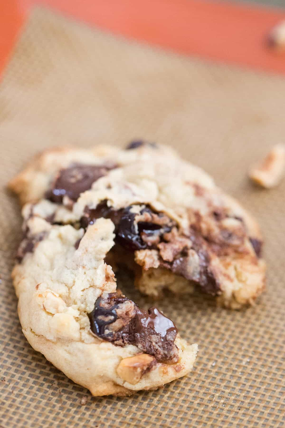 These cherry chip cookies are loaded! Each bite reveals chocolate chunks, hazelnuts and booze-soaked cherries!