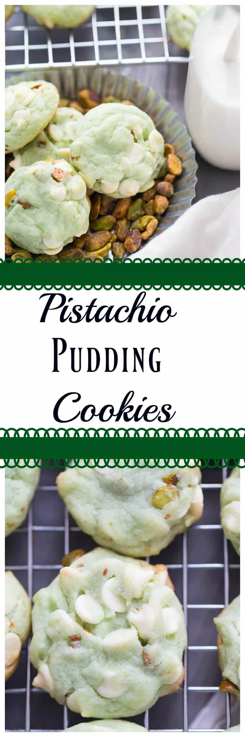 Pudding cookies are the best! They are easy to prepare and they help cookies bake up so nice and soft! This pistachio and white chocolate cookies are absolutely delightful!
