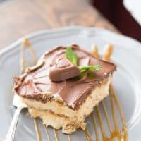 This no bake eclair cake is the best! The luscious caramel flavor will have you coming back for seconds!