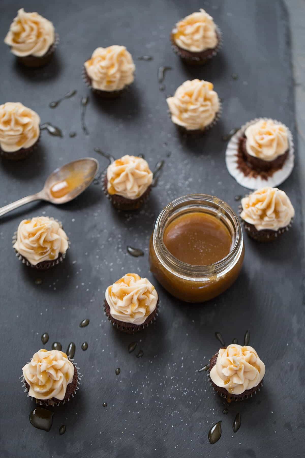 Salted Caramel Brownies made with Irish cream! These bite-size treats will go fast!