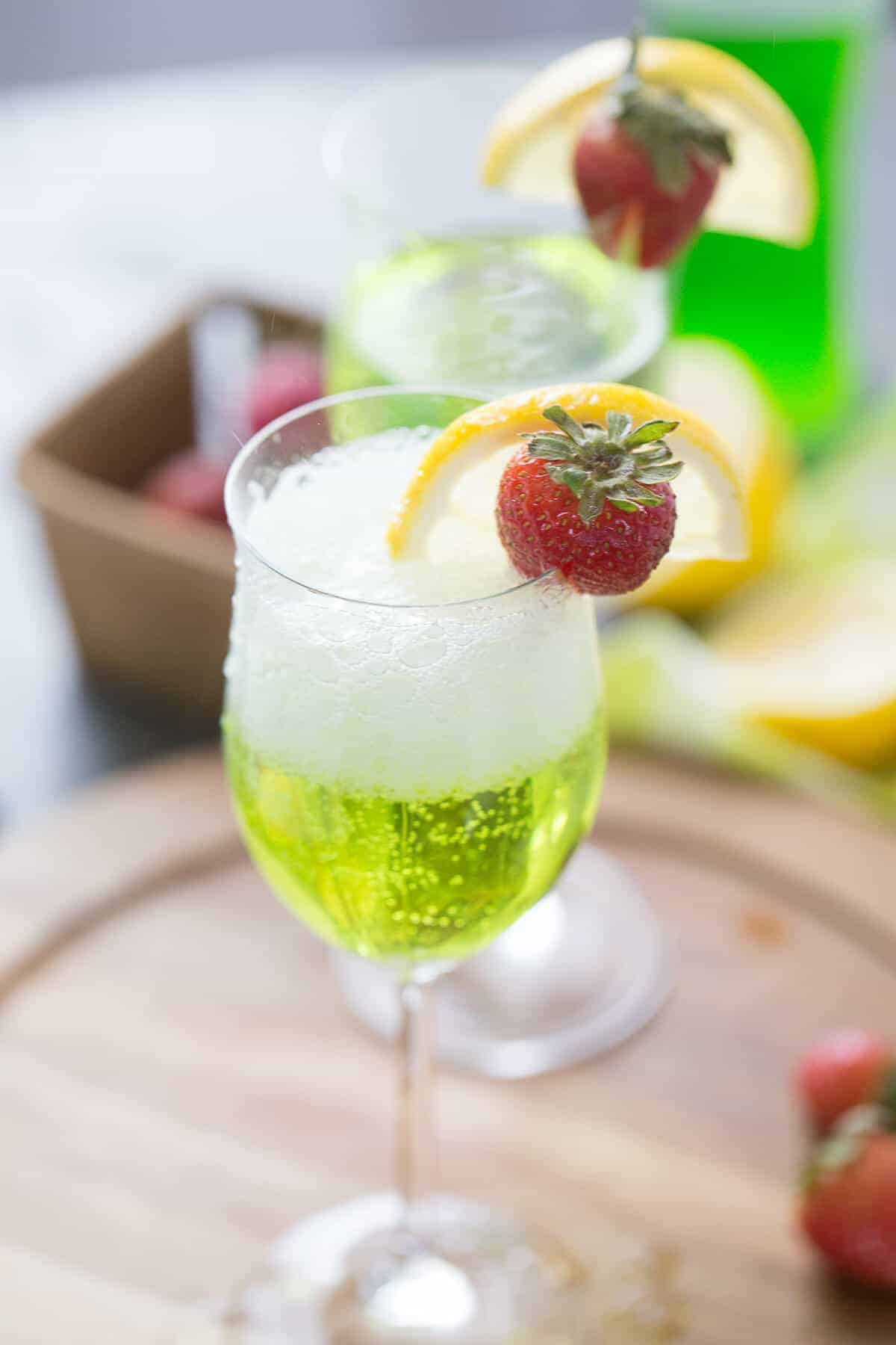 This Irish cocktail is made with Prosecco and Midori! A splash of lime tops it off!