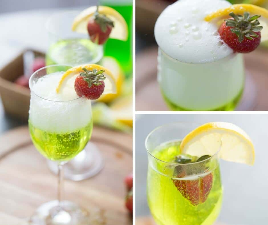 This Irish cocktail gets it's bubbles from Prosecco and it's color from Midori! It is so simple and so fun!