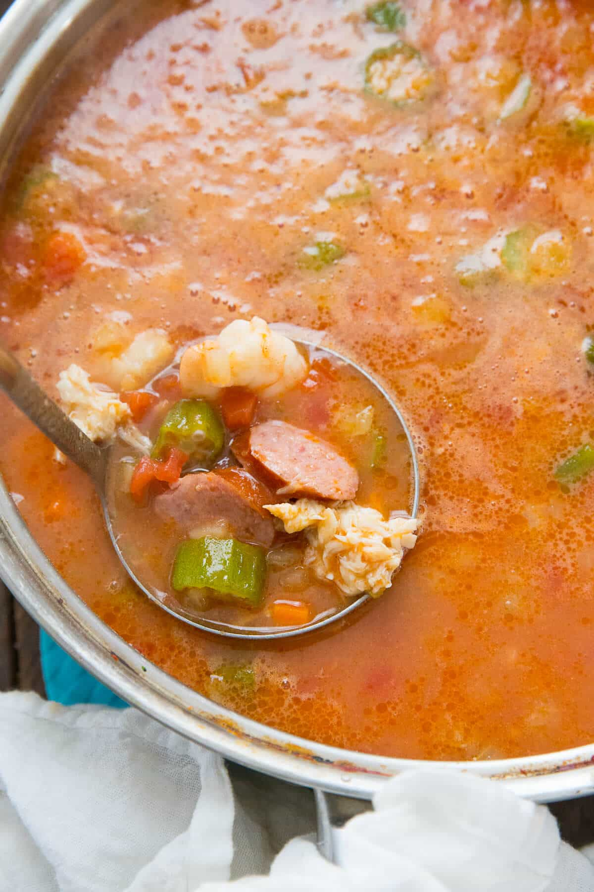 This easy gumbo recipe is a real brown please! Fill it with all your favorite ingredients!