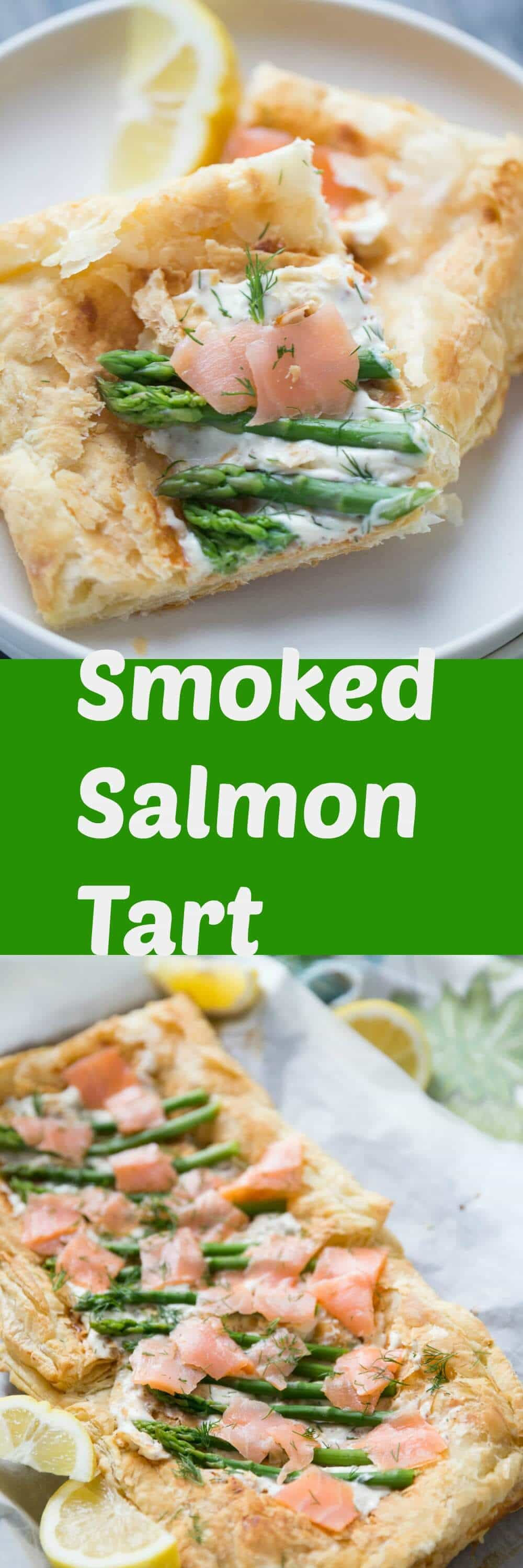 This recipe for asparagus and smoked salmon tart is impressive yet simple!  This light and flaky dish is a light and tasty dish that is perfect for spring!