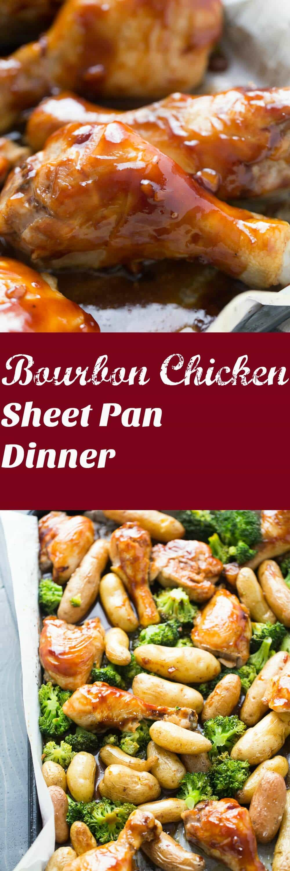 Sheet pan dinners are family friendly and easy to make! This bourbon chicken recipe is baked along with potatoes and broccoli then covered in a perfectly seasoned bourbon sauce! Get the napkins ready! lemonsforlulu.com