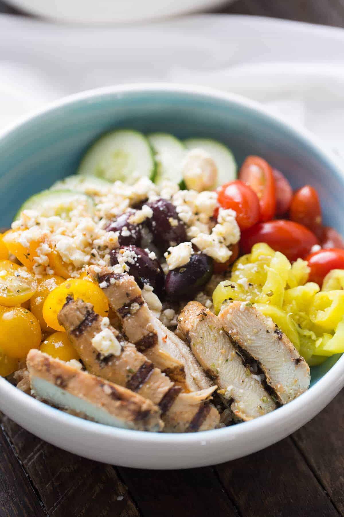 Mediterranean Chicken Farro Bowl Lemonsforlulucom