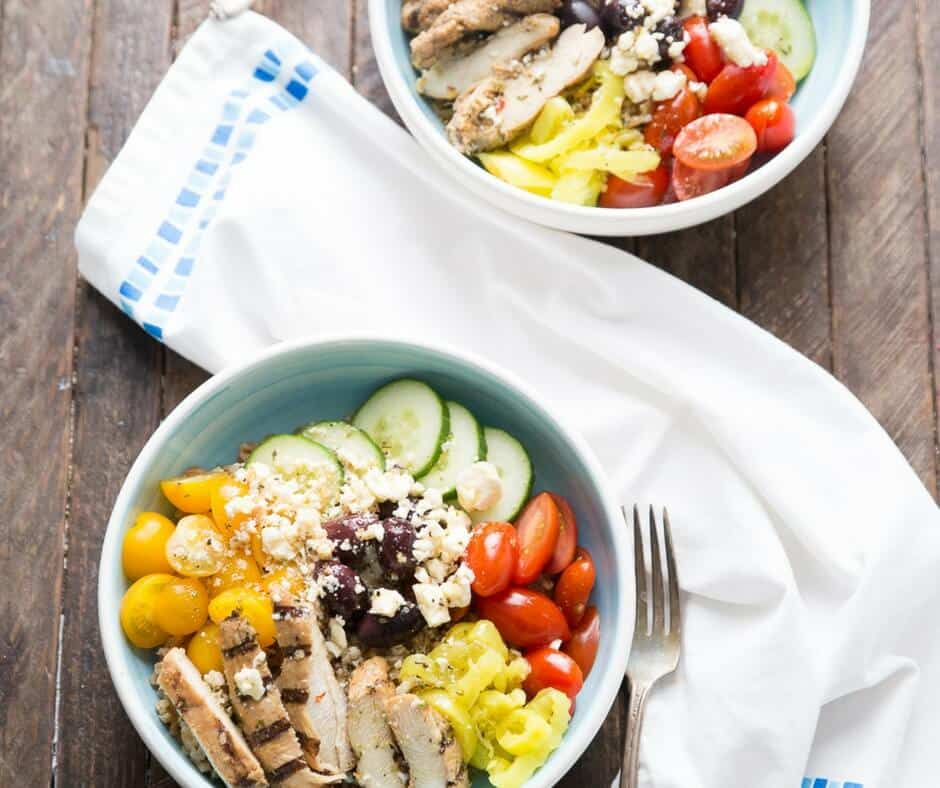 These Mediterranean Chicken bowls are filling but so good! Each bowl is filled with fiber, protein and vitamins which make this a powerhouse of a meal! lemonsforlulu.com