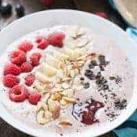 This smoothie bowl has a hint of mocha, strawberry and fresh fruit! The chocolate covered coffee beans make it a stand out! lemonsforlulu.com