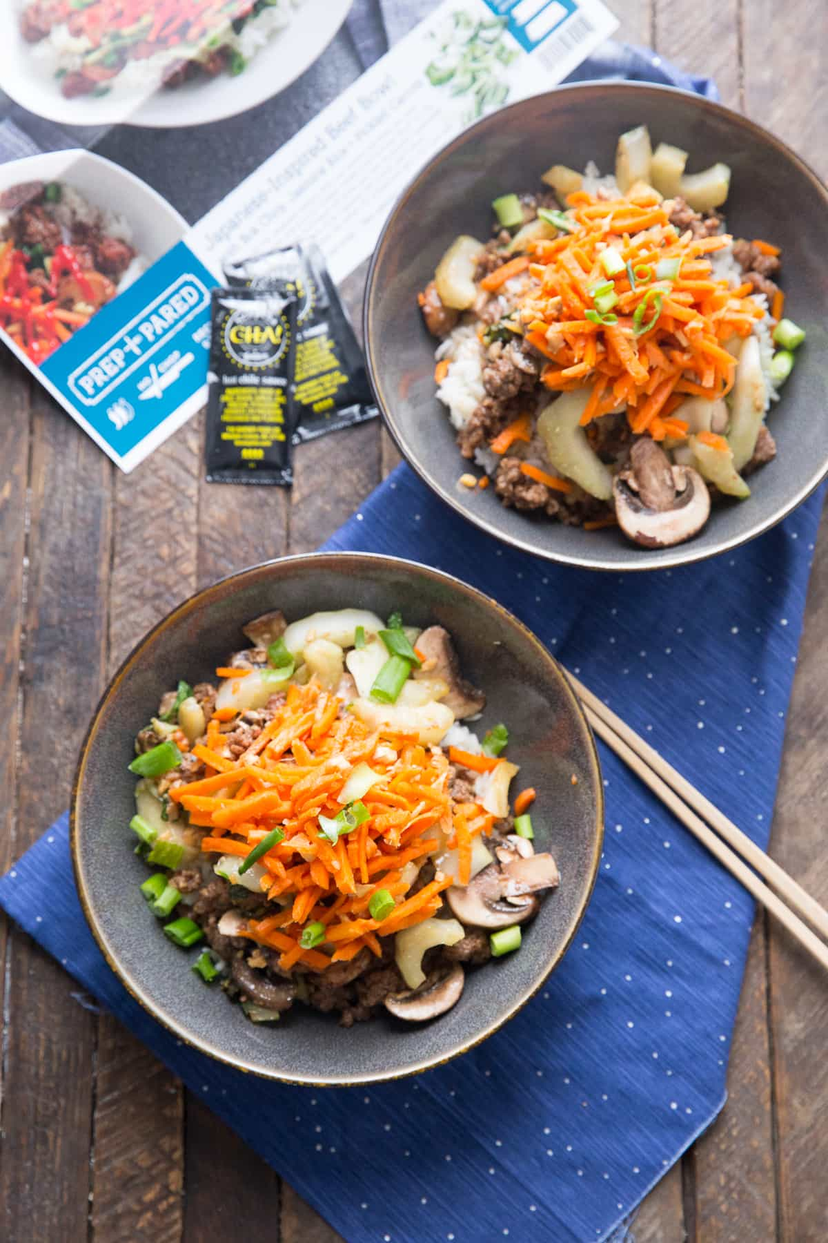Thees easy beef bowls are the perfect date night meal! Prep and Pared meal kits make it so simple!