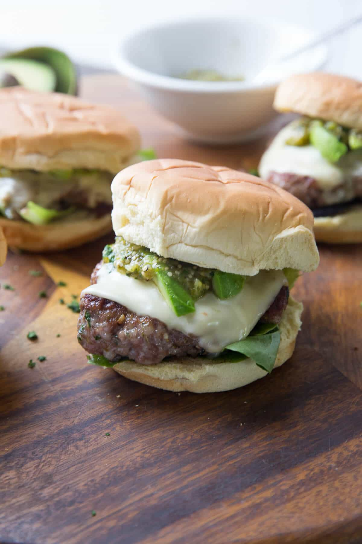 This pork burger is full of pie! The chile verde topping is outrageously good!