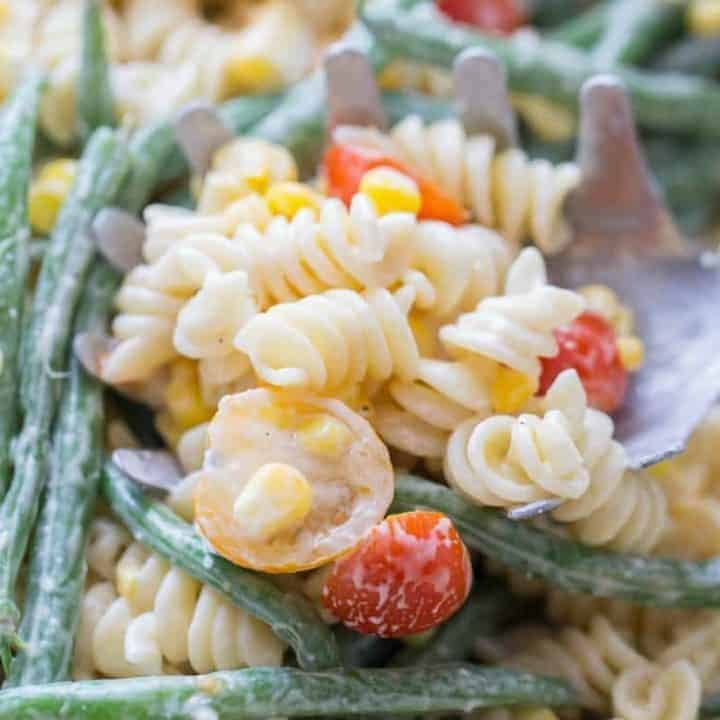 Loaded Vegetable Pasta Salad and Cincy Dipping Sauces