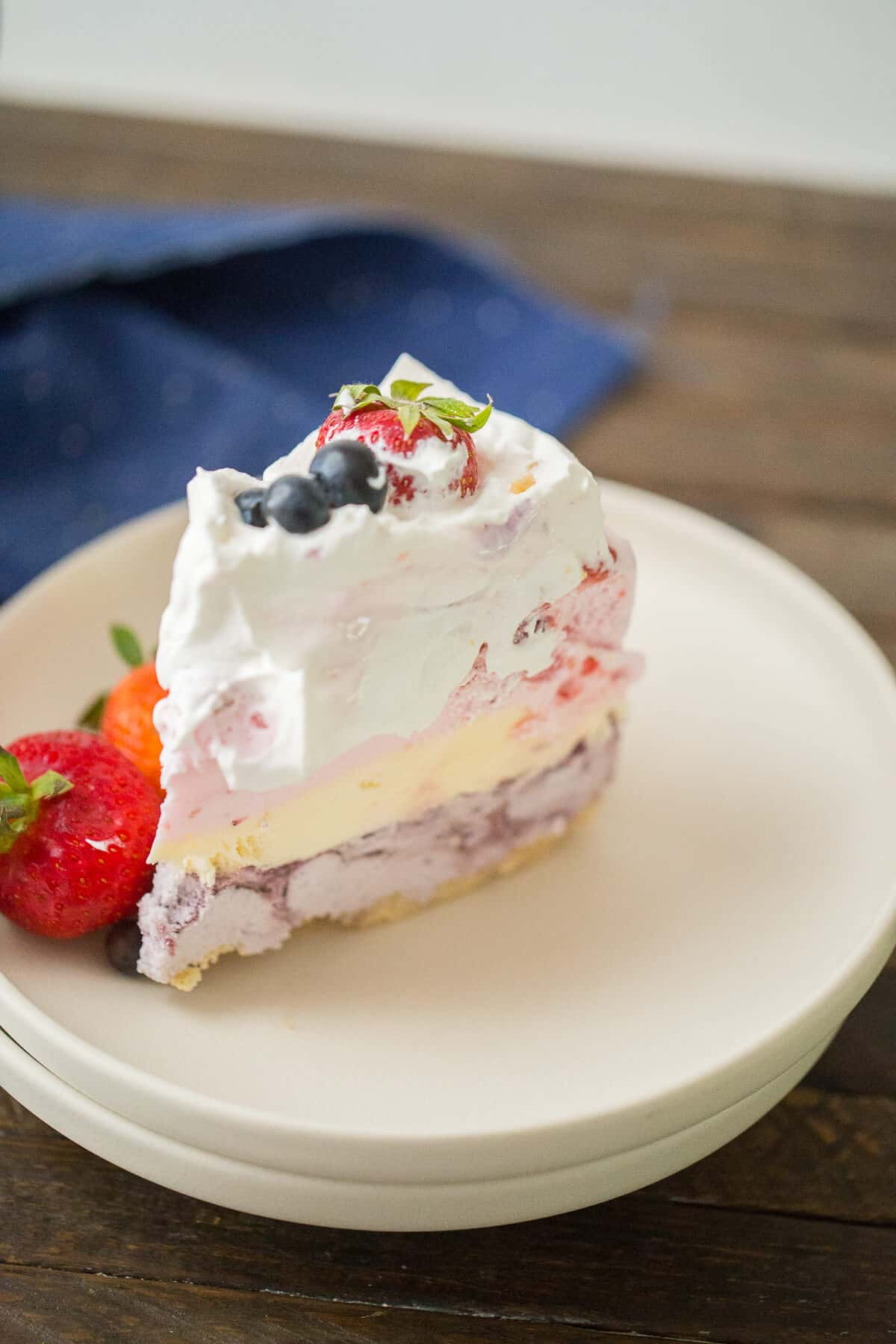 A red, white, and blue ice cream cake that will please folks of all ages!This recipe looks and tastes so good!
