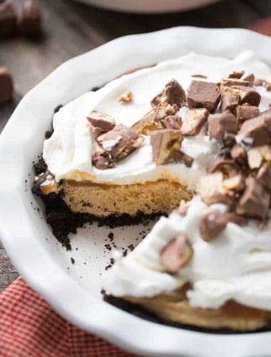 This peanut butter pie is creamy and smooth and has a touch of caramel!