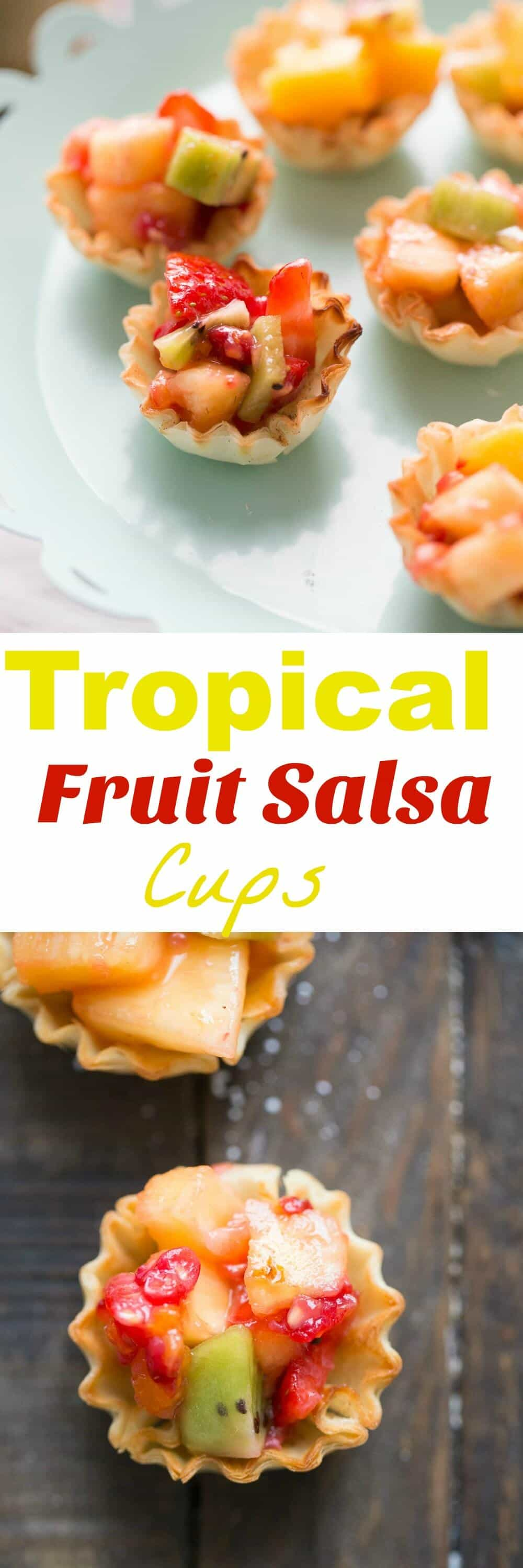 Fruit salsa is always a crowd pleasure. These little cups feature cinnamon sugar flavored phyllo shells that are filled with sweet, tropical fruit.  Serve these as appetizers or desserts.  Either way they will be a huge hit! lemonsforlulu.com