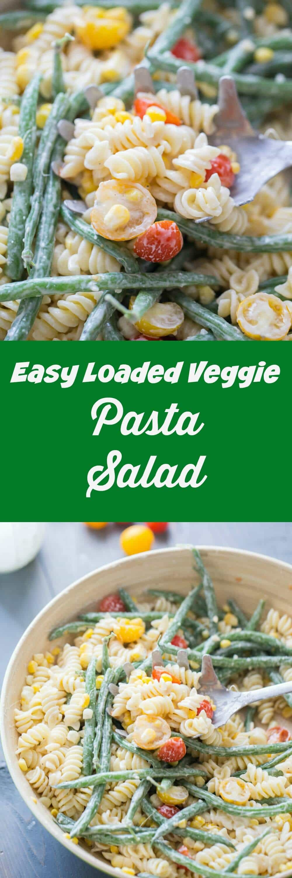 Your summer menu must include this easy vegetable pasta salad! Serve it with anything on the BBQ for the perfect summer meal!