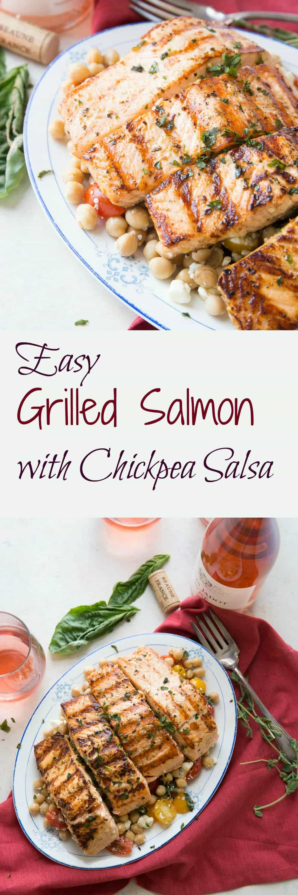 Salmon is such a mild fish, this easy grilled salmon recipe highlights its versatility. When served with the chickpea salsa the dish takes on a Mediterranean flair!