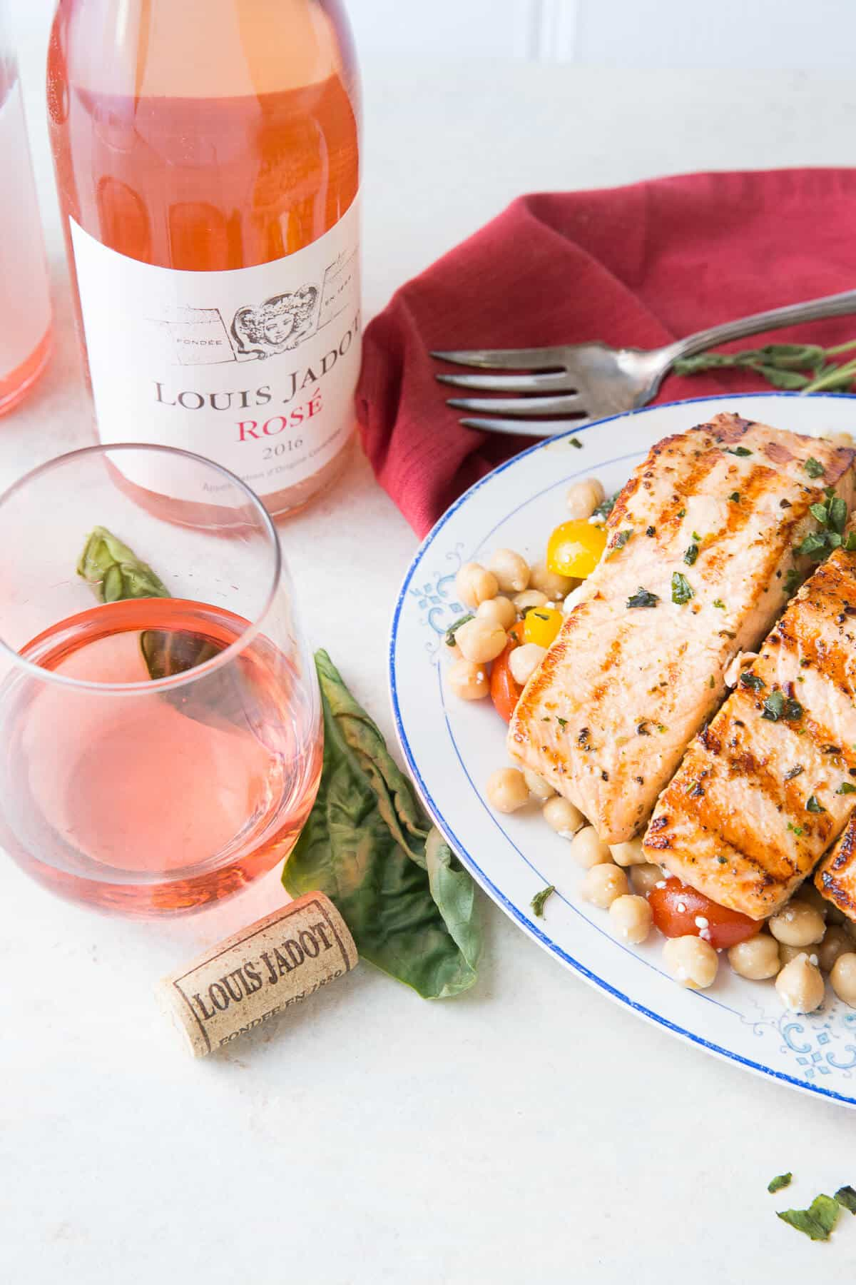This easy grilled salmon recipe has a little Mediterranean flavor! The chickpea salsa is good all on it's own!