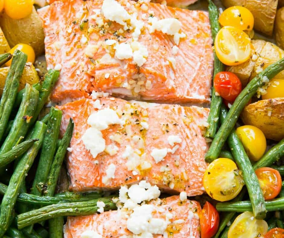 This Mediterranean salmon is a one pot wonder! Salmon is coated in Mediterranean seasoning and baked with veggies and potatoes! So easy and so good!