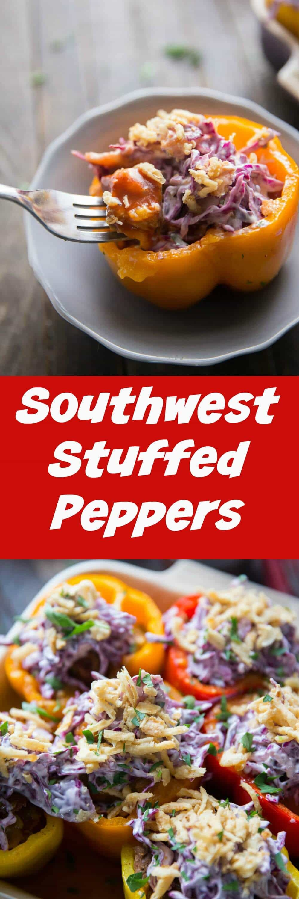 Forget ordinary stuffed peppers when you can have these Southwest Stuffed peppers instead! These peppers are filled with BBQ brisket and topped with slaw!