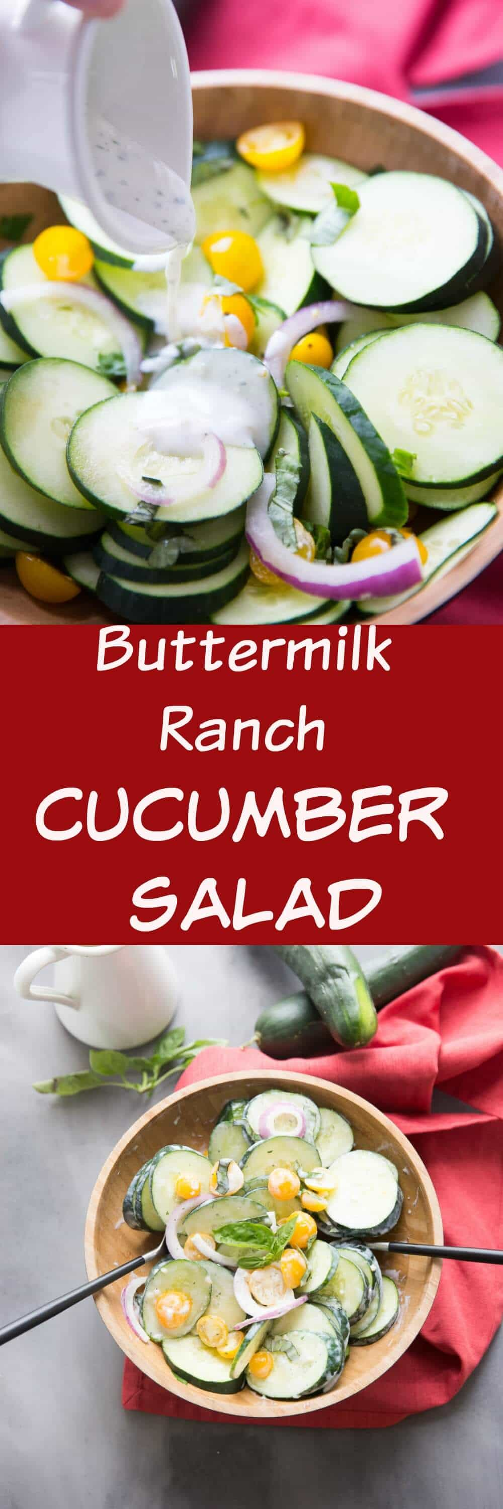 The perfect side to any cookout is the creamy cucumber salad! Fresh produce, a creamy buttermilk ranch dressing is a refreshing and simple side!