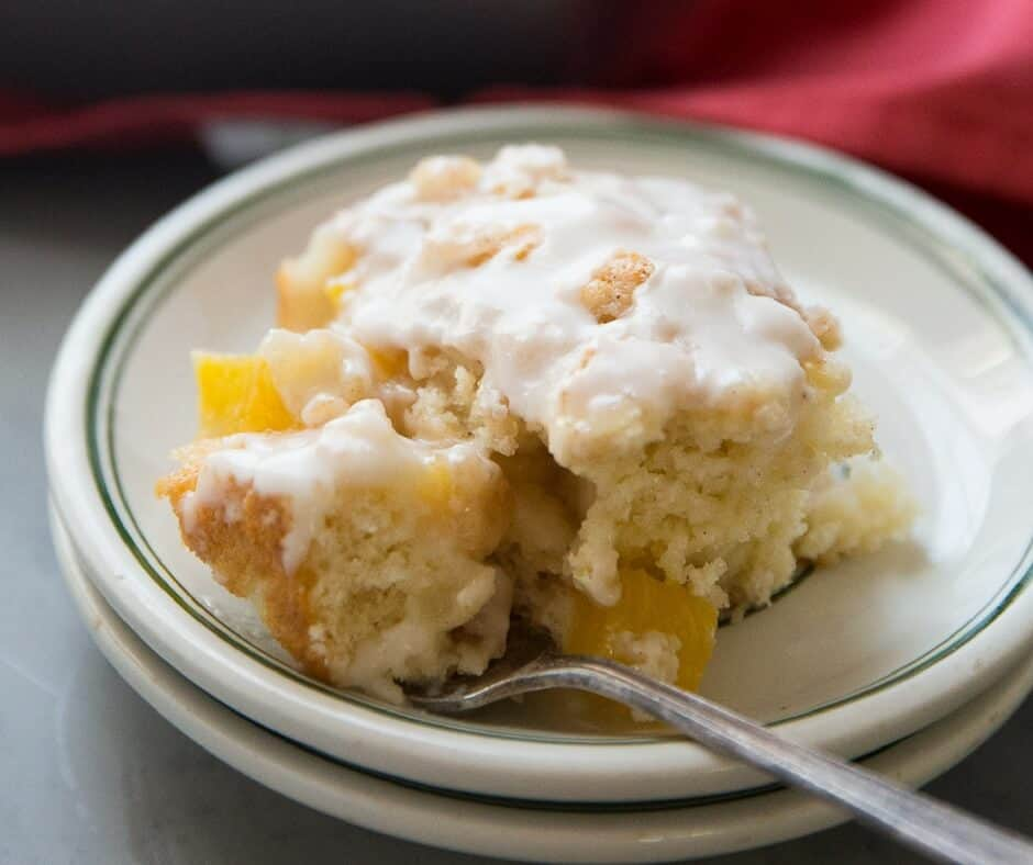 Peaches and cream are quite the pair in this easy coffee cake! This is a summer treat you have to try!