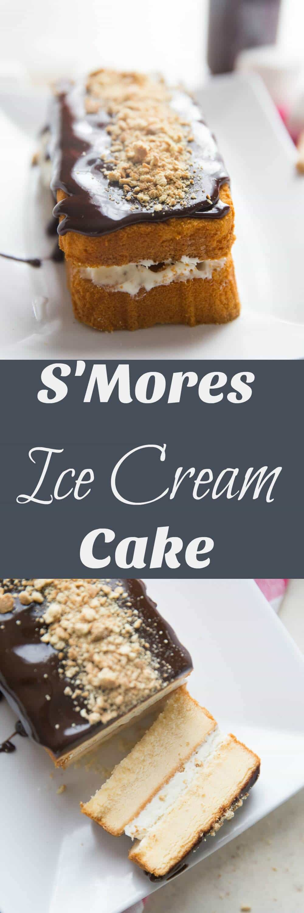 S'mores ice cream cake starts with homemade toasted marshmallow ice cream that gets sandwiched between pound cake halves! If that not's enough, chocolate sauce and graham cracker crumbs help complete this summertime masterpiece!