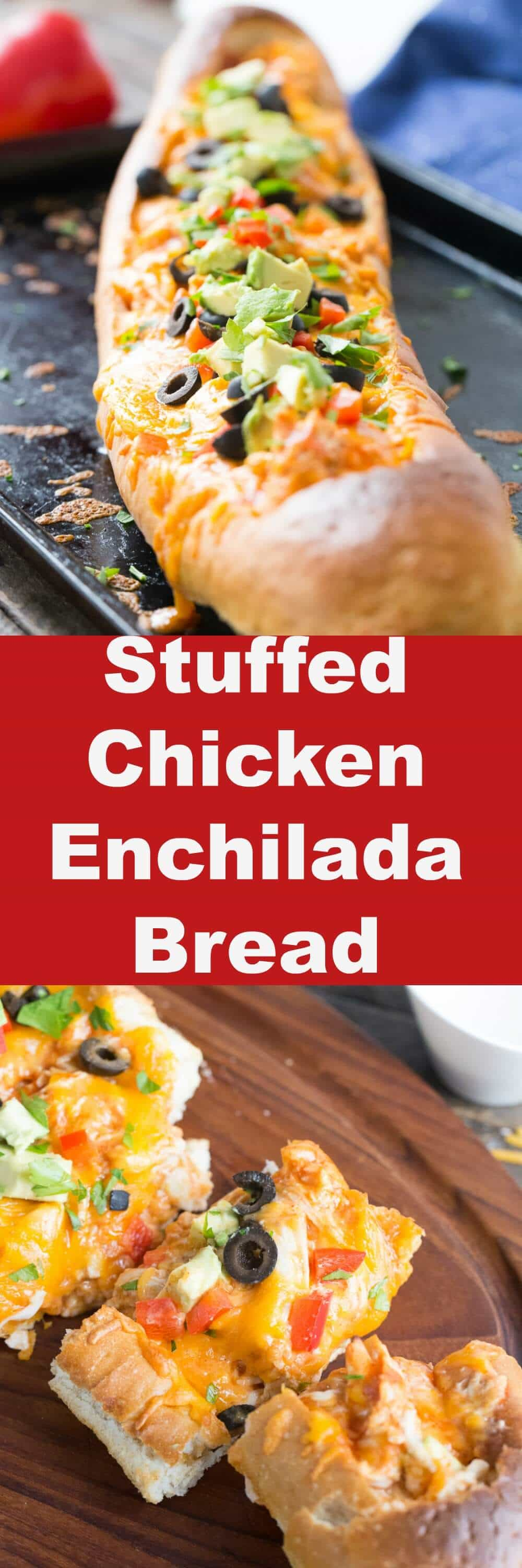 Chicken enchiladas are stuffed inside a loaf of French bread then baked until golden. Top your enchilada bread with your favorite ingredients and then gobble it up!