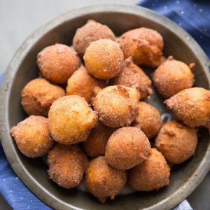 These little ricotta donuts have loads of apple spice flavor.  Grab them while they are hot and dip them in caramel sauce!