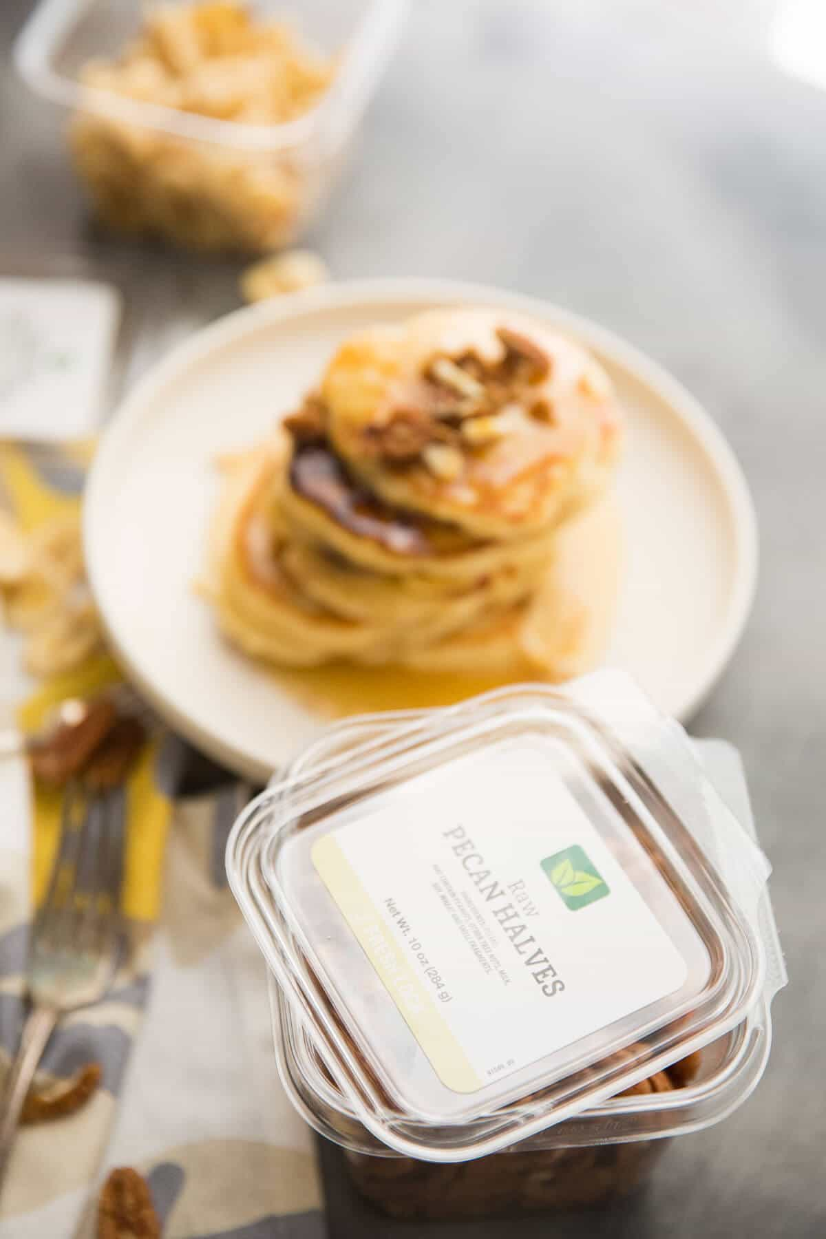 Banana's Foster makes an appearance at your breakfast table instead of the dessert table! Banana pancakes, rum flavored caramel sauce and a nutty topping elevate ordinary pancakes into something extraordinary!