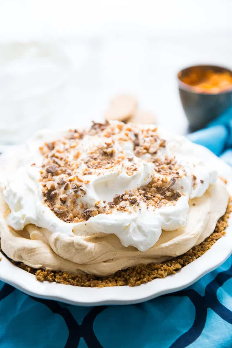 This pumpkin cream pie is no ordinary Thanksgiving pie! It is light and fluffy with the creamiest pumpkin filling.