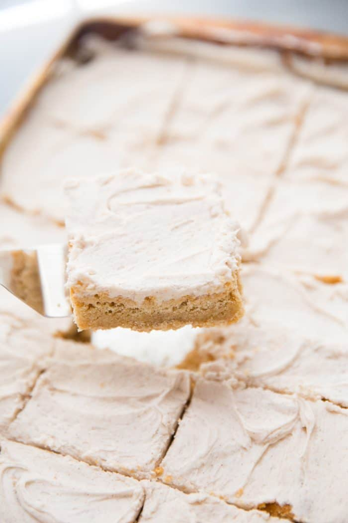 Browned Butter Blondies with frosting